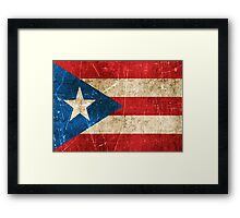 Vintage Aged and Scratched Puerto Rican Flag Framed Print