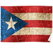 Vintage Aged and Scratched Puerto Rican Flag Poster