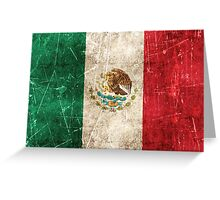 Vintage Aged and Scratched Mexican Flag Greeting Card