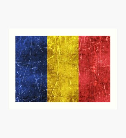 Vintage Aged and Scratched Romanian Flag Art Print
