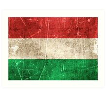 Vintage Aged and Scratched Hungarian Flag Art Print