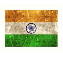 Vintage Aged and Scratched Indian Flag Art Print