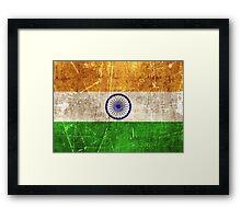 Vintage Aged and Scratched Indian Flag Framed Print