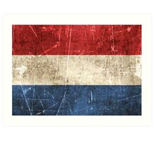 Vintage Aged and Scratched Dutch Flag Art Print