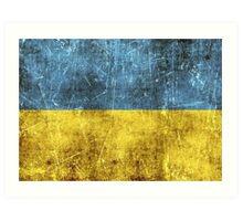 Vintage Aged and Scratched Ukrainian Flag Art Print