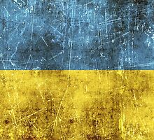 Vintage Aged and Scratched Ukrainian Flag by Jeff Bartels