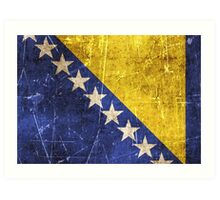 Vintage Aged and Scratched Bosnia Herzegovina Flag Art Print
