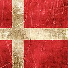 Vintage Aged and Scratched Danish Flag by Jeff Bartels