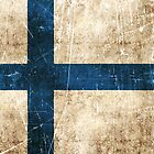 Vintage Aged and Scratched Finnish Flag by Jeff Bartels