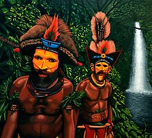 Huli men in the jungle of Papua New Guinea by PaulMeijering