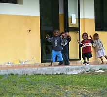 School Kids Coming Out to Wave to Us on our Bus Tour. by Mywildscapepics