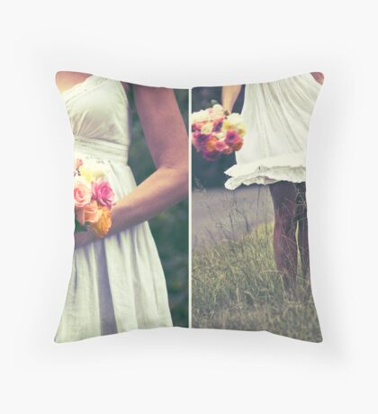 ~the bride and the bouquet ~ Throw Pillow