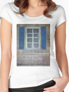 Pastel drawing blue shutters and bricks Women's Fitted Scoop T-Shirt