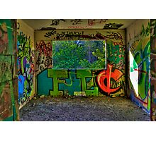 Graffiti Room with Forest View Photographic Print