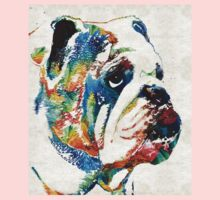Bulldog Pop Art - How Bout A Kiss - By Sharon Cummings One Piece - Long Sleeve