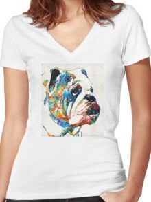 Bulldog Pop Art - How Bout A Kiss - By Sharon Cummings Women's Fitted V-Neck T-Shirt