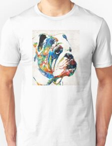 Bulldog Pop Art - How Bout A Kiss - By Sharon Cummings Unisex T-Shirt