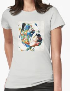 Bulldog Pop Art - How Bout A Kiss - By Sharon Cummings Womens Fitted T-Shirt