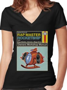 Rap Master Manual Women's Fitted V-Neck T-Shirt