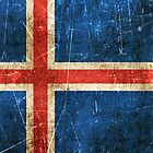 Vintage Aged and Scratched Icelandic Flag by Jeff Bartels