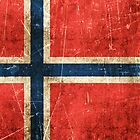 Vintage Aged and Scratched Norwegian Flag by Jeff Bartels