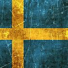Vintage Aged and Scratched Swedish Flag by Jeff Bartels