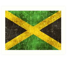 Vintage Aged and Scratched Jamaican Flag Art Print