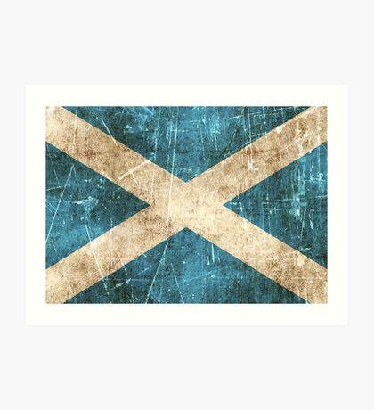 Vintage Aged and Scratched Scottish Flag Art Print