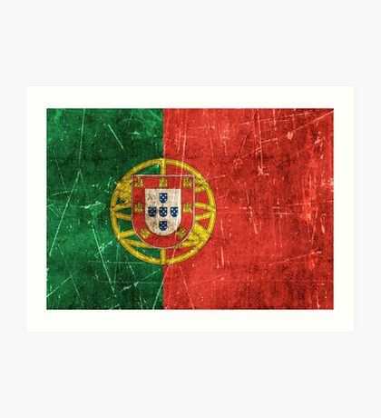Vintage Aged and Scratched Portuguese Flag Art Print