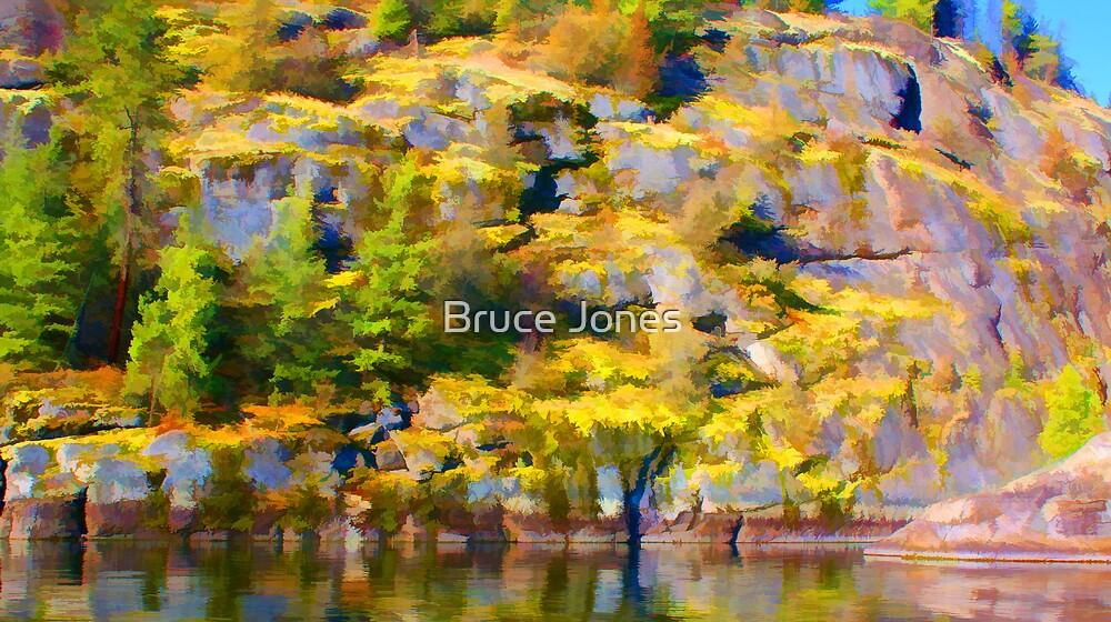"""""""Waterside Rock Wall Painted"""" by Bruce Jones"""