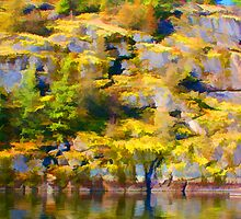 """Waterside Rock Wall Painted"" by Bruce Jones"
