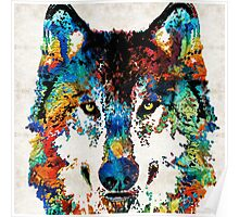 Wolf Art Print - Hungry - By Sharon Cummings Poster