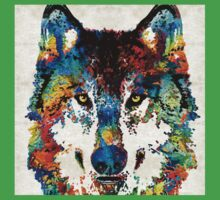 Wolf Art Print - Hungry - By Sharon Cummings One Piece - Short Sleeve