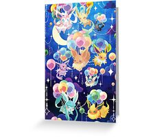 Eevees with Balloons Greeting Card