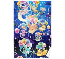 Eevees with Balloons Poster