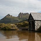Towering Above - Dove Lake Boat Shed, Cradle Mountain by Woodman