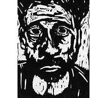 self portrait #3 in woodcut Photographic Print