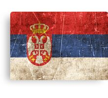 Vintage Aged and Scratched Serbian Flag Canvas Print