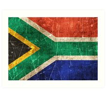 Vintage Aged and Scratched South African Flag Art Print