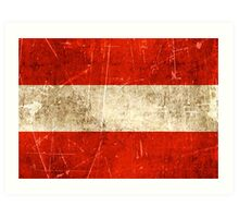 Vintage Aged and Scratched Austrian Flag Art Print