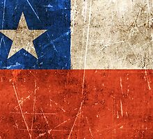 Vintage Aged and Scratched Chilean Flag by Jeff Bartels