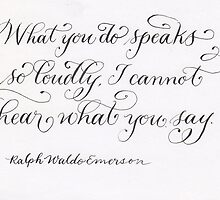 Handwritten Emerson quote calligraphy art by Melissa Goza
