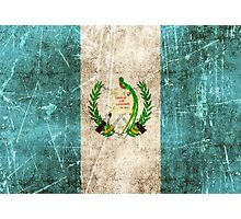 Vintage Aged and Scratched Guatemalan Flag Photographic Print