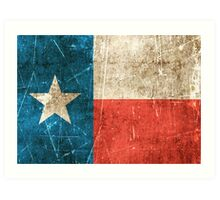 Vintage Aged and Scratched Texas Flag Art Print