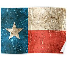 Vintage Aged and Scratched Texas Flag Poster
