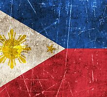 Vintage Aged and Scratched Filipino Flag by Jeff Bartels