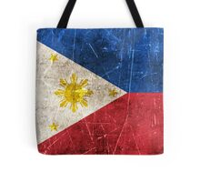 Vintage Aged and Scratched Filipino Flag Tote Bag