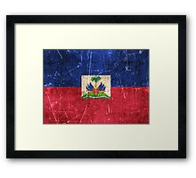 Vintage Aged and Scratched Haitian Flag Framed Print