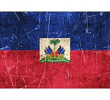 Vintage Aged and Scratched Haitian Flag Photographic Print