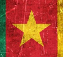 Vintage Aged and Scratched Cameroon Flag Sticker